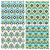 Geometric ethnic aztec mexican seamless patterns. Set. Tribal ornament, boho chic texture Royalty Free Stock Images