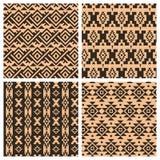 Geometric ethnic aztec mexican seamless patterns. Set. Tribal ornament, boho chic texture Royalty Free Stock Photos