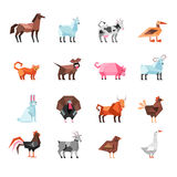 Geometric Farm Animals Set. Geometric farm animals and birds colorful set isolated on white background flat vector illustration Royalty Free Stock Photography
