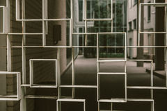 Geometric Fence in Front of House Royalty Free Stock Photography