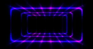 3D Rendering. Geometric figure in neon light against a dark tunnel. Laser glow. Stock Photo