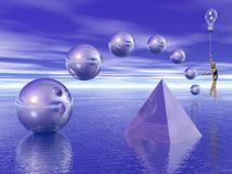 Geometric figures above water surface. 3d render. Pyramid and spheres over the water. Mannequin flies with light bulb Stock Images