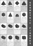 Geometric Figures in Black, Vector Illustration. Blunted cone, dodecahedron and icosahedron, triangular and pentagrammic prism, sphere and octahedron Stock Images
