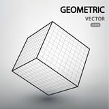 Geometric figures built by a grid. Cube mesh vector structure. Geometric figures built by a grid. Technological abstract background. Futuistic technological Stock Photo