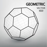 Geometric figures built by a grid. Polyhedron is a mesh vector structure. Geometric figures built by a grid. Technological abstract background. Futuistic Vector Illustration