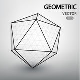 Geometric figures built by a grid. Polyhedron mesh vector structure. Geometric figures built by a grid. Technological abstract background. Futuistic Stock Photos