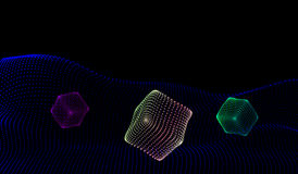 Geometric figures from dynamically emitted particles. 3D-style. Luminous grid. Abstract background. Vector illustration. EPS10. Geometric figures from Stock Images