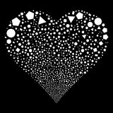 Geometric Figures Fireworks Heart. Geometric Figures fireworks with heart shape. Raster illustration style is flat white iconic symbols on a black background Stock Image