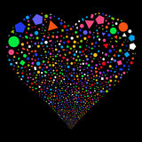 Geometric Figures Fireworks Heart Stock Image