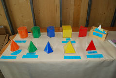 Geometric Figures. Material used at a montessori school for geometry class Stock Photo