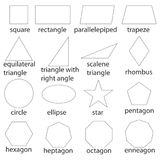 Geometric figures, a set of black and white geometric shapes. Flat design, vector illustration, vector Stock Photo