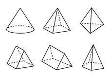 Geometric Figures Set Isolated on White Backdrop. Vector illustration, square pyramid and tetrahedron, cone and triangular prisms, hexagonal pyramid Stock Image