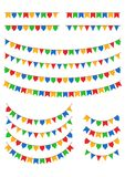 Geometric flags used during Festa Junina in Brazil Stock Photos