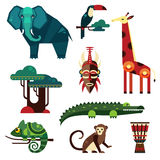 Geometric Flat Africa Animals and Plants stock illustration