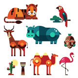 Geometric Flat Africa Animals and Plants Royalty Free Stock Photo