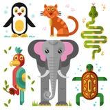 Geometric flat animals. Elephant, parrot, penguin, turtle, snake, bobcat. Flat vector illustration set Royalty Free Stock Photography