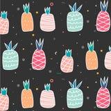 Geometric Flat And Cute Hand Drawn Pineapples Pattern. stock illustration