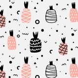 Geometric Flat And Cute Hand Drawn Pineapples Pattern. vector illustration