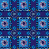Geometric and floral blue pattern seamless. Geometric blue pattern seamless with square and circle ornaments royalty free illustration