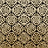 Floral Gatsby Art Deco Pattern Background Design. Geometric Floral Gatsby Art Deco Pattern Background Design in Black and Gold stock illustration