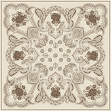 Geometric floral square element, brown and beige Stock Image