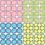 Geometric flower background. Four geometric flower seamless backgrounds Stock Photo