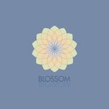 Geometric flower in fashionable colors. Template for the logo, emblem.  vector illustration