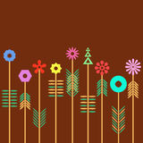 Geometric Flower. Multicolored flowers made of geometric shapes against rich brown background Stock Photos