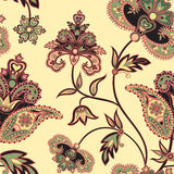 Geometric flower pattern Abstract floral seamless ornament. Flourish tiled pattern. Floral retro background. Curved tree branch with fantastic flowers, leaves Stock Images