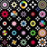 Geometric flowers. Colored geometric flowers on the black background stock illustration