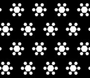 Geometric flowers - flowers seamless pattern. Vector monochrome seamless texture. Abstract geometric flowers, simple white hexagonal figures on black background Royalty Free Stock Image