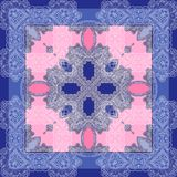 Square design for shawl and fabric printing with lining elements. Geometric and flowers pattern square artwork for shawl design high quality fashion design Royalty Free Stock Photos