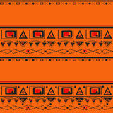 Geometric folk abstract vintage orange seamless pattern Royalty Free Stock Photos