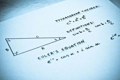 Geometric formulas written on a white paper Stock Images