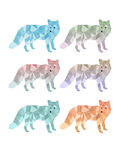 Geometric Fox Set. A set of geometric foxes in different gradient colors Stock Photo