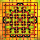 Geometric Fractal II. Computer generated fractal artwork for creative art and design. Fractal abstract image in orange tonality. Suitable also for wallpaper royalty free illustration