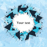 Geometric frame on a blue background. Fragments. Stock Images