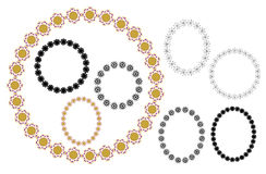 Geometric frames - vector round and oval Stock Photo