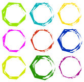 Geometric frames. Set of edgy geometric circular frames. Royalty Free Stock Photos