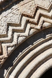 geometric frieze of a medieval portal Stock Photo