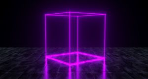 Geometric Futuristic Sci-fi Neon Primitive Cube Light On Dark Gr. Unge Concrete Surface 3D Rendering Illustration Royalty Free Stock Images