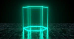 Geometric Futuristic Sci-fi Neon Primitive Hexagon Cylinder Ligh. T On Dark Grunge Concrete Surface 3D Rendering Illustration Royalty Free Stock Image