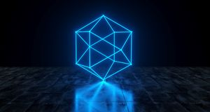 Geometric Futuristic Sci-fi Neon Primitive Low Poly Sphere Light vector illustration