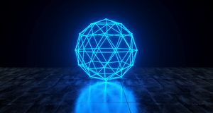 Geometric Futuristic Sci-fi Neon Primitive Low Poly Sphere Light. On Dark Grunge Concrete Surface 3D Rendering Illustration vector illustration