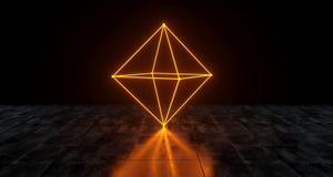 Geometric Futuristic Sci-fi Neon Primitive Prism Light On Dark G. Runge Concrete Surface 3D Rendering Illustration Stock Images