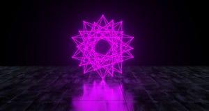 Geometric Futuristic Sci-fi Neon Primitive Star Lots Edges Light. On Dark Grunge Concrete Surface 3D Rendering Illustration Stock Photo