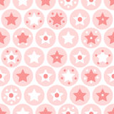 Geometric girls kids circles and stars seamless pattern on white Stock Photography