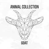 Geometric goat head. Goat head geometric lines silhouette  on white background vintage design element Royalty Free Stock Images