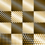 Geometric gold backgrounds set vector Royalty Free Stock Photography