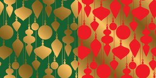 Geometric gold bauble silhouette. Xmas repeatable pattern. Classic red and green with gold seamless Christmas motif for background, wrapping paper, fabric Stock Image